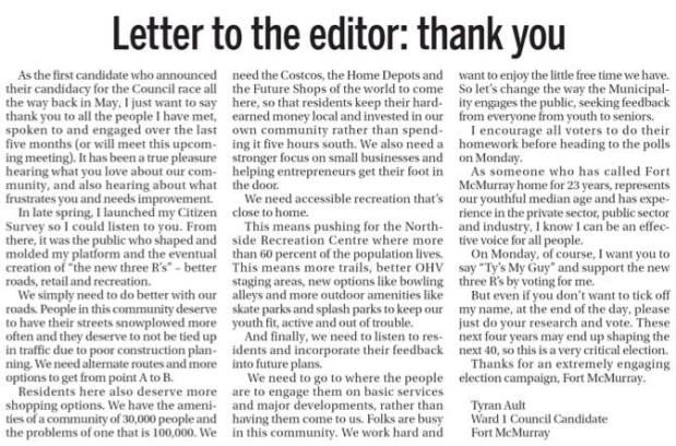 Letter to the Editor Fort McMurray Today